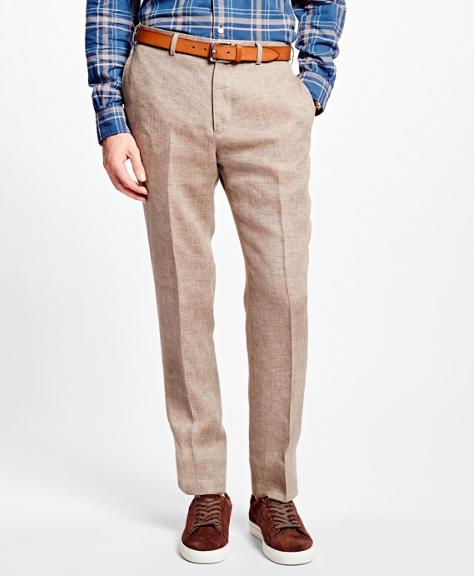Brown Tic Linen Suit Trouser