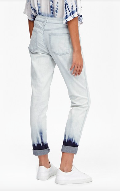 Tie Dye Hem Denim Jeans